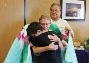 Hugging a patient